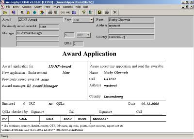 Award aanvraag